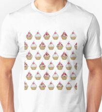 Cute Pink & White Floral Cupcake with Cherry on Top T-Shirt