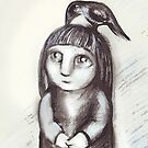 """Little girl and crow"" by Tatjana Larina"