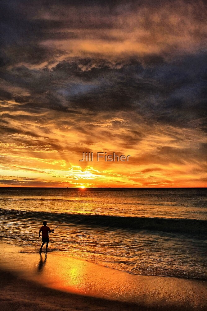 Boy Fishing at Sunset by Jill Fisher