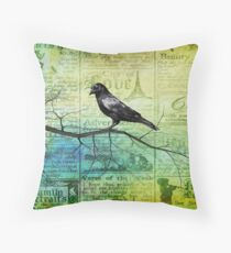 Portrait of a Raven Throw Pillow