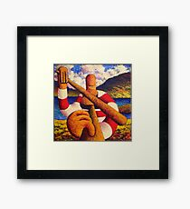 Fiddle player  in landscape( impasto) acrylic 12x12 in. Framed Print