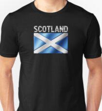 Scotland - Scottish Flag & Text - Metallic Unisex T-Shirt