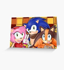 Sonic Boom: Sonic, Amy Rose and Sticks Greeting Card