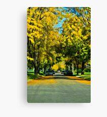Neighborhood in Autumn Canvas Print