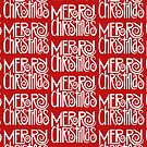 Merry Christmas Text White by Mariana Musa