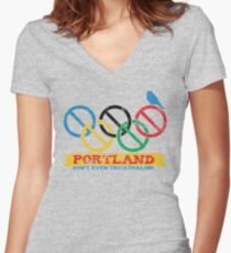 Portland Nolympics Women's Fitted V-Neck T-Shirt