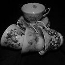 Grandma's Tea Cups Black and White by Heather Crough