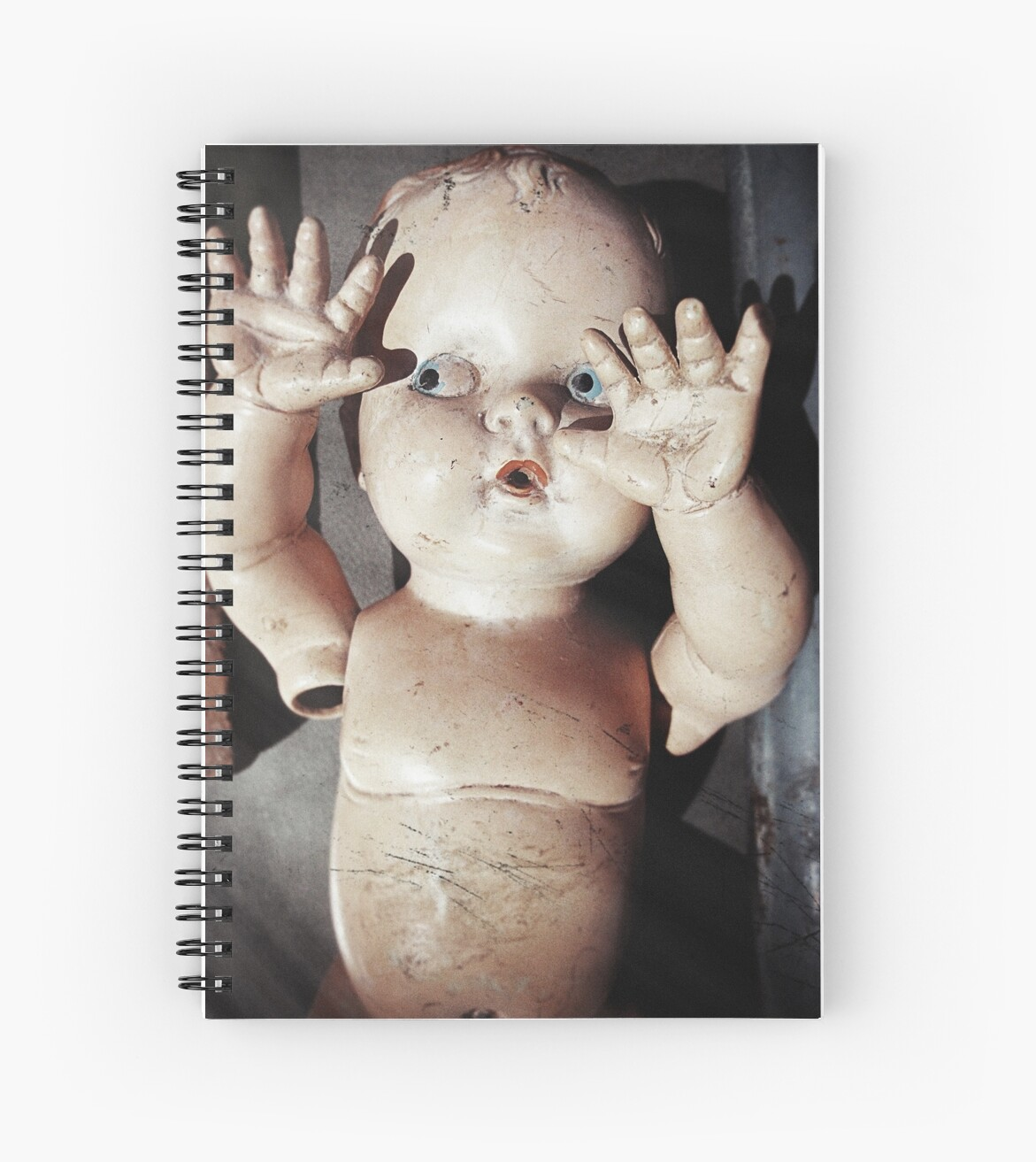 """""""I see you"""" Creepy Scared Doll with Hands Up by ashley hutchinson"""