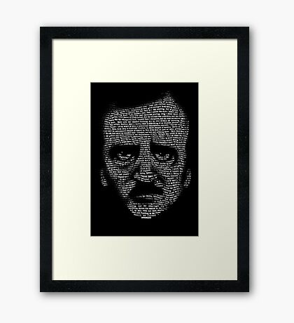 Edgar Allan Poe Nevermore Text Portrait Framed Print