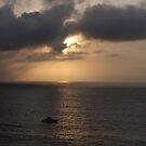 Cloudy Sunset with Boat - Puesta del Sol nublasa con Barco by PtoVallartaMex