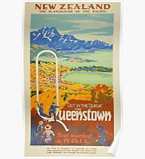 Vintage Queenstown New Zealand Travel Poster