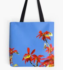 Flowers in Red and Blue Tote Bag