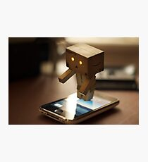 Danbo tries to use my iPhone Photographic Print