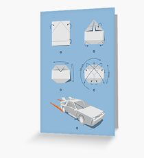 Origami DeLorean Greeting Card