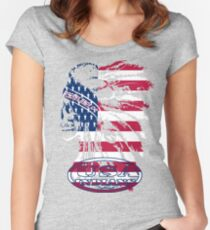usa indian flag logo by rogers bros Women's Fitted Scoop T-Shirt