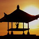 sihlouette of man doing yoga in sunrise-hori by Michael Brewer