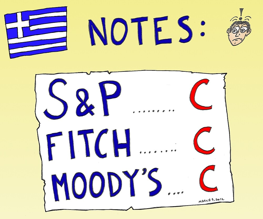 Binary Options News Cartoon - Three C Ratings on Greek Notes FAIL by Binary-Options