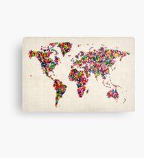 Butterflies Map of the World Map Metal Print