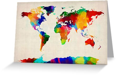 Map of the World Map Painting by Michael Tompsett