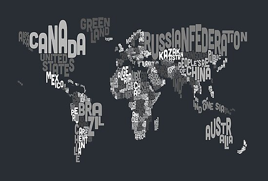 Typograhpy Text Map of the World by Michael Tompsett