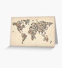 Cats Map of the World Map Greeting Card