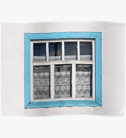 Karakul window - sellotape, tinsel and a lace curtain Poster
