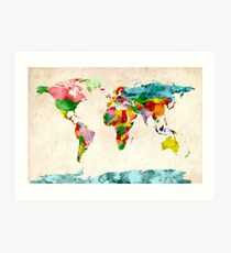 World Map Watercolors Art Print