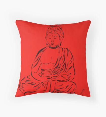 Red Buddha Throw Pillow