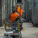 Two Monks at Angkor Wat, Cambodia by Bev Pascoe