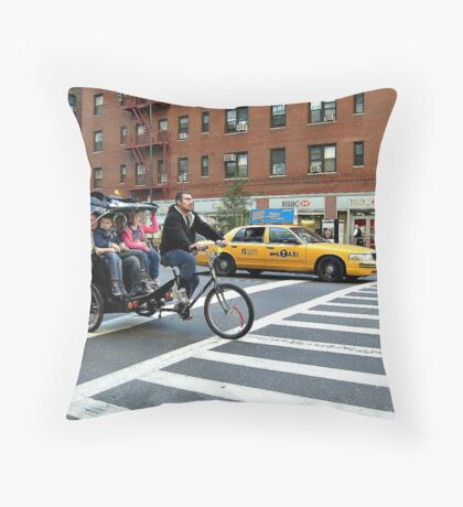A Unique Way to Travel In the City - Rickshaw Bike In NYC Throw Pillow
