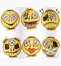 set of colorful halloween-style smiles of horror 4 Poster