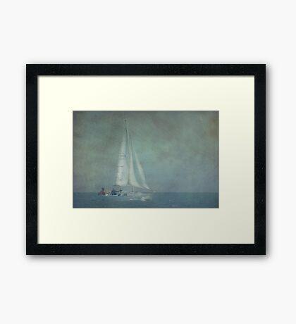 Yacht in Blue Framed Print