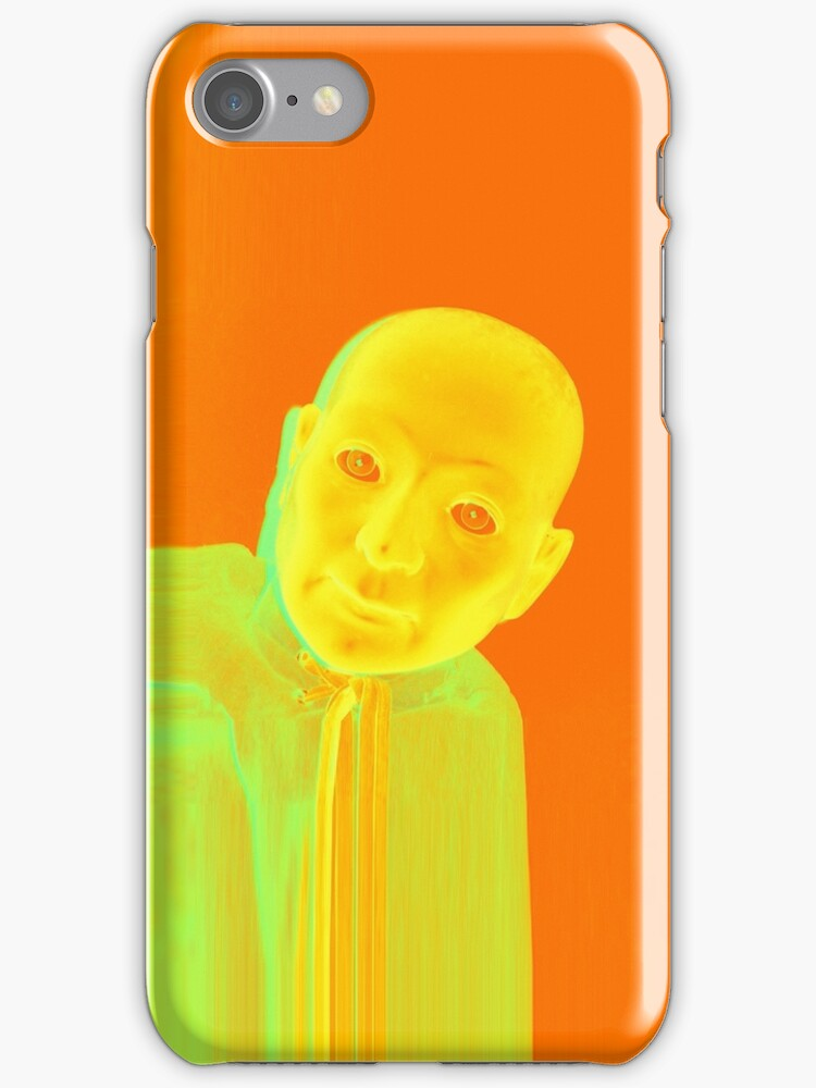 Hugo Man of a Thousand Faces iPhone orange by Margaret Bryant