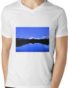 Blue Mirror Lake Mens V-Neck T-Shirt