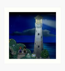 To the moon lighthouse Art Print