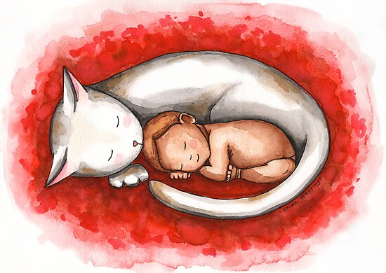 Sleeping Cat and Baby by Erika  Hastings
