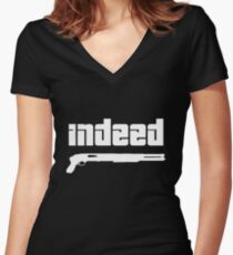 Omar. Indeed. Women's Fitted V-Neck T-Shirt