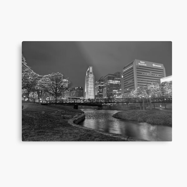 Omaha Skyline in Black and White Metal Print