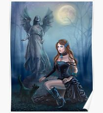 Fantasy beautiful woman with black cat about a statue. wood at night.  Poster