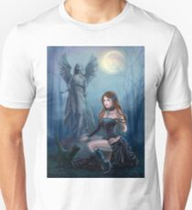 Fantasy beautiful woman with black cat about a statue. wood at night.  T-Shirt