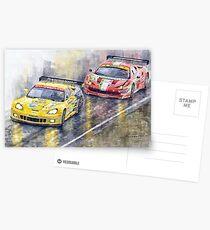 Le Mans 2011 GTE Pro Chevrolette Corvette C6R vs Ferrari 458 Italia Postcards