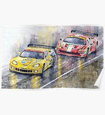 Le Mans 2011 GTE Pro Chevrolette Corvette C6R vs Ferrari 458 Italia Poster