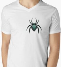 Cartoon Green Spider Mens V-Neck T-Shirt