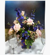 Pink Roses and Purple Delphinium Poster
