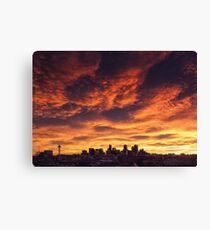 Denver Skyline Sunrise Canvas Print