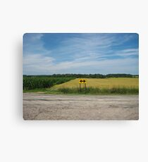 Wheat Field Road Sign Canvas Print
