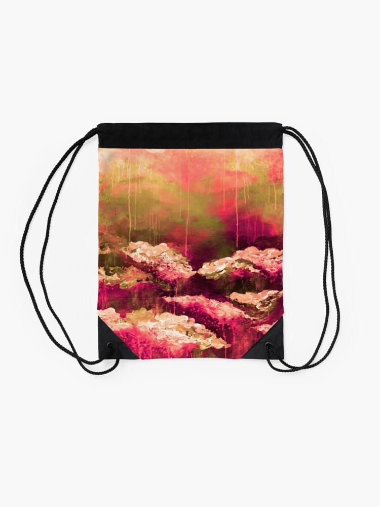 Alternate view of ITS A ROSE COLORED LIFE Floral Hot Pink Marsala Olive Green Flowers Abstract Acrylic Painting Fine Art Drawstring Bag