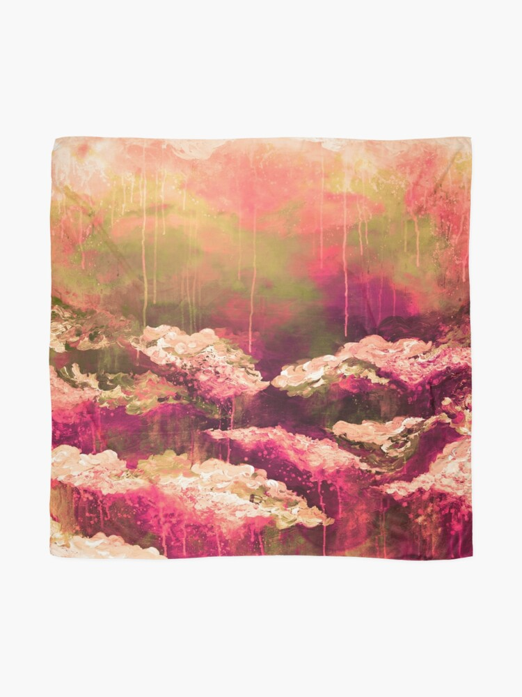 Alternate view of ITS A ROSE COLORED LIFE Floral Hot Pink Marsala Olive Green Flowers Abstract Acrylic Painting Fine Art Scarf