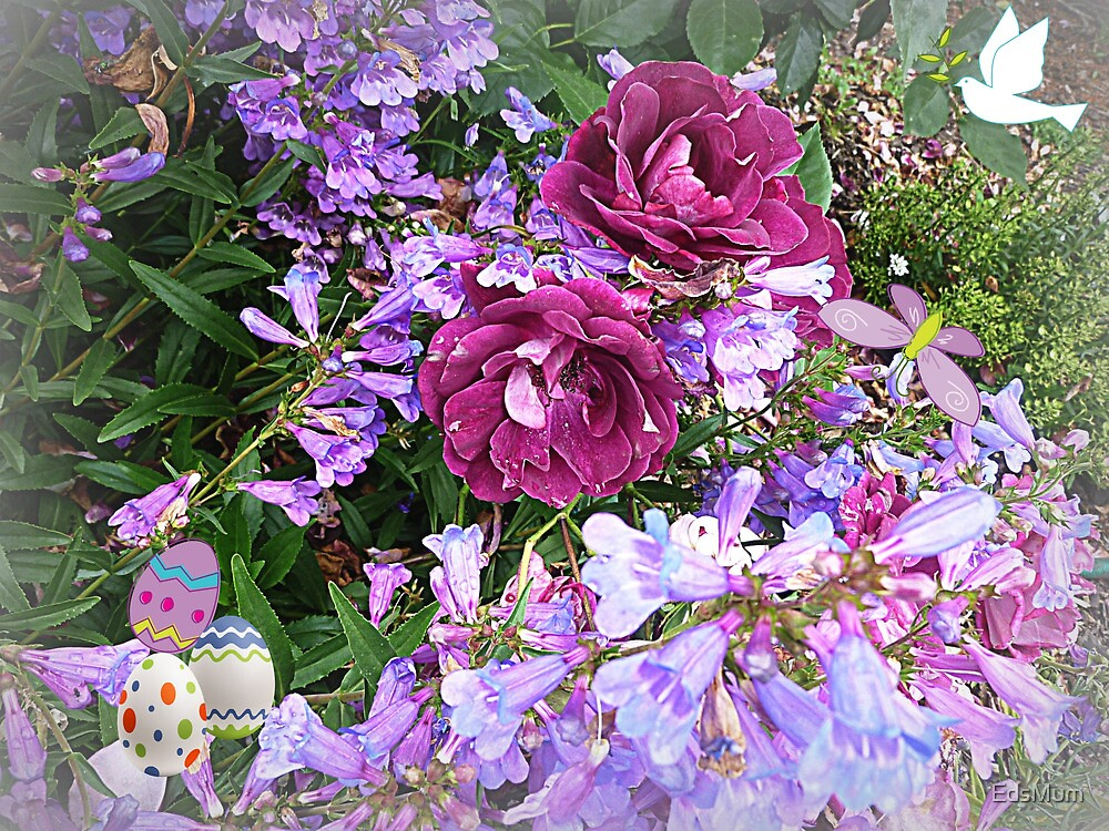 Burgundy Rose & ground cover make a pretty picture for Easter by EdsMum