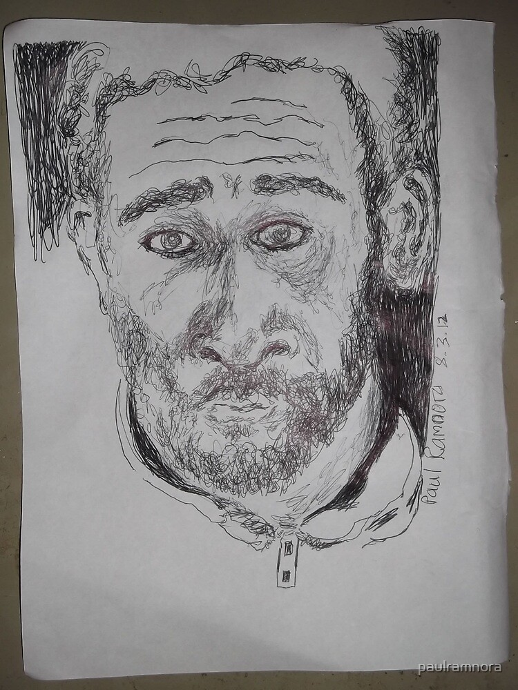 Self-portrait/2 of 3 -(080312)- Black biro pen/white A4 sketchbook by paulramnora